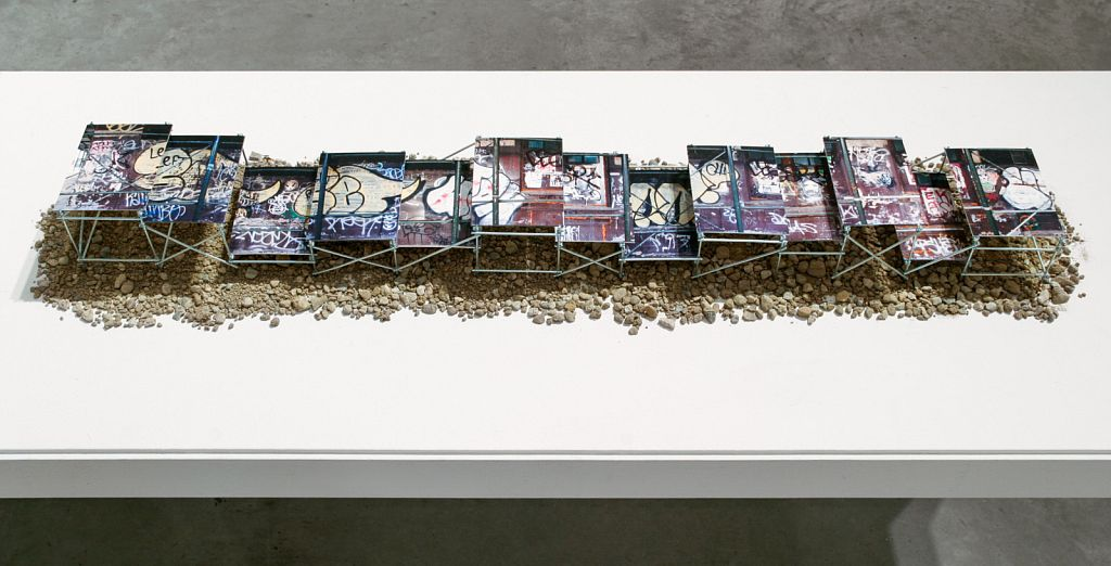 no. 2: Williamsburg is for Lovers [scale prototype], 2005, mixed media, 60 x 10 x 8""
