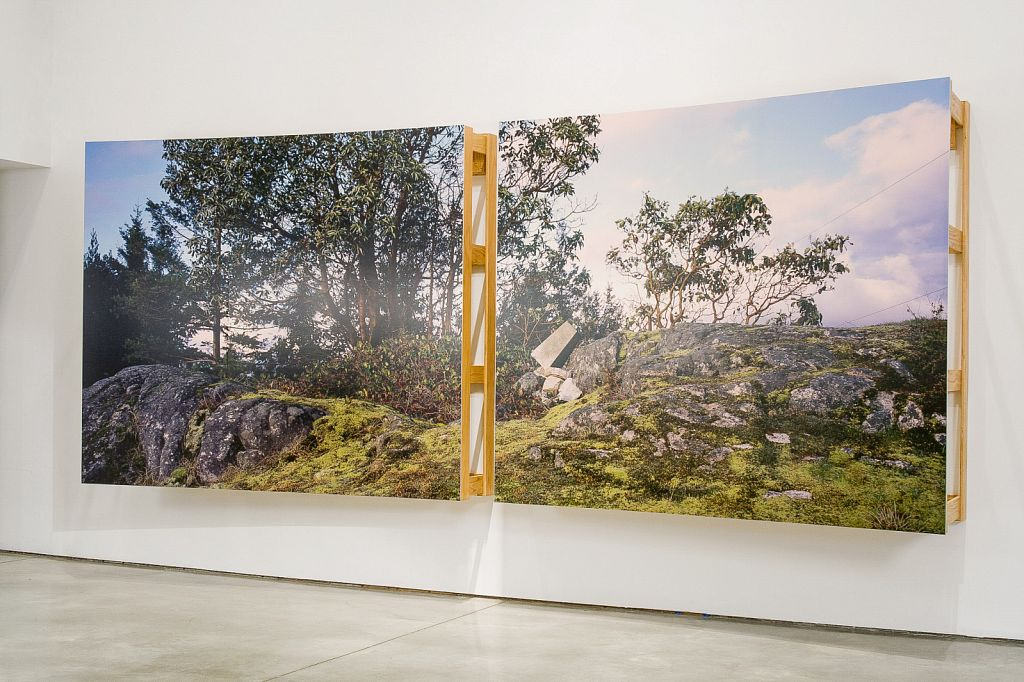 "no. 5: The Bluff (Pursuant to Supreme Court of B.C., Vancouver Registry #S062778), 2007, Lightjet prints on Sintra, rotary oak plywood, and brass and steel screws, 180 x 68 x 20""; installation view, Charles H Scott Gallery, 2007"