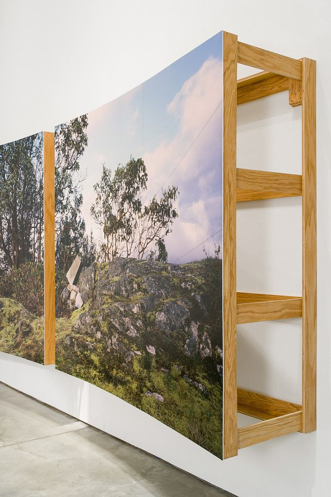 "no. 5: The Bluff (Pursuant to Supreme Court of B.C., Vancouver Registry #S062778) [detail], 2007, Lightjet prints on Sintra, rotary oak plywood, and brass and steel screws, 180 x 68 x 20""; installation view, Charles H Scott Gallery, 2007"