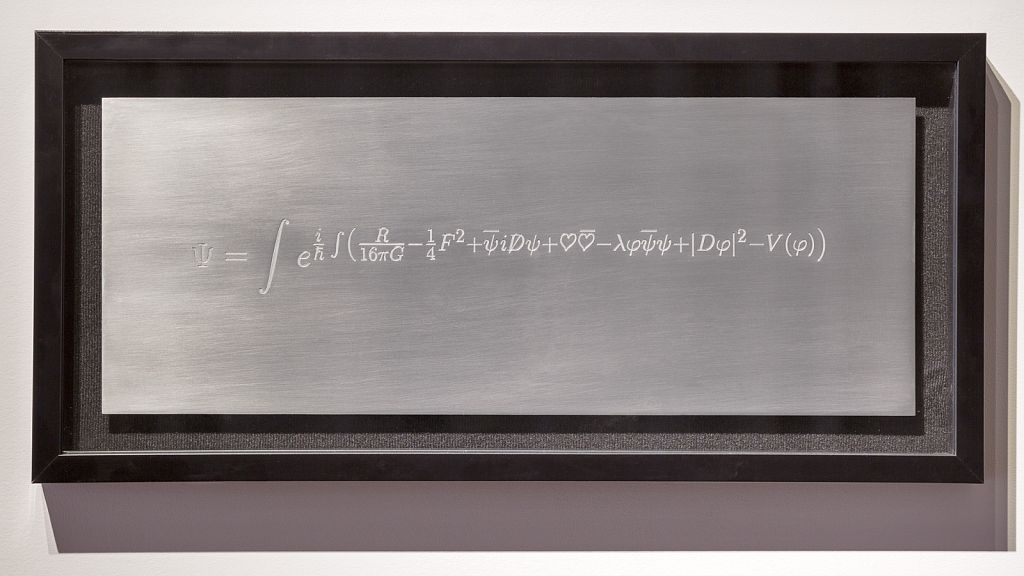 The Language of the Universe [Turok 2012; Main 1998], 2016, engraving on hand-polished aluminium, 19 x 7""